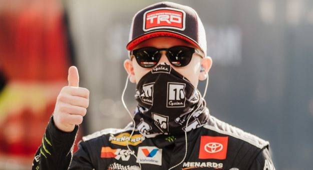 Ty Gibbs, driver of the No. 18 Joe Gibbs Racing Toyota, gives a thumbs up during the ARCA Menards Series test at Daytona International Speedway in Daytona Beach, Florida, on Jan. 15, 2021. (Kate Gardiner/ARCA Racing)