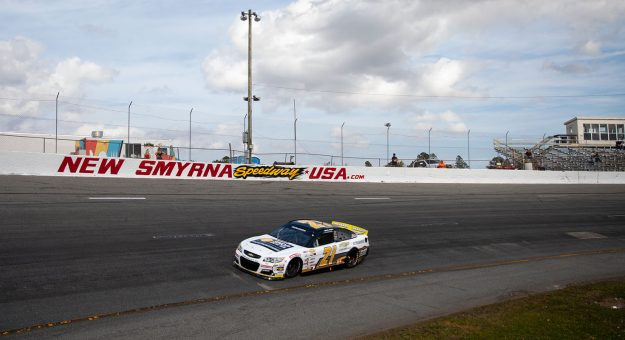 Sam Mayer, driver of the No. 21 Chevy Accessories Chevrolet, practices for the Skip's Western Outfitters 175 for the ARCA Menards Series East at New Smyrna Speedway in New Smyrna Beach, Florida, on Feb. 10, 2020. (Matt Stamey/ARCA Racing)