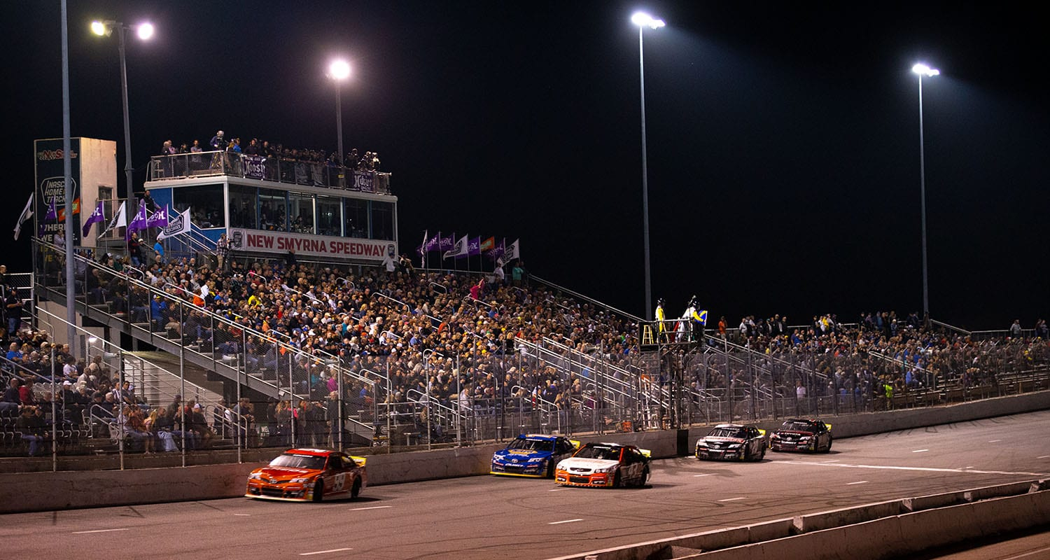 Cars in action during the Skip's Western Outfitters 175 for the ARCA Menards Series East at New Smyrna Speedway in New Smyrna Beach, Florida, on Feb. 10, 2020. (Matt Stamey/ARCA Racing)