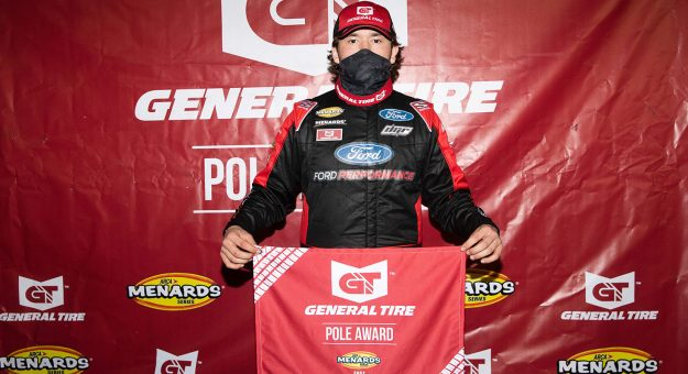 Taylor Gray, driver of the No. 17 Ford Performance Ford, celebrates winning the General Tire pole for the Jeep Beach 175 for the ARCA Menards Series East at New Smyrna Speedway in New Smyrna Beach, Florida, on Feb. 8, 2021. (Adam Glanzman/NASCAR)