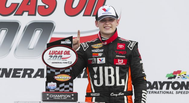 Corey Heim, driver of the No. 20 JBL Toyota, celebrates in victory lane after winning the Lucas Oil 200 Driven by General Tire for the ARCA Menards Series at Daytona International Speedway in Daytona Beach, Florida, on Feb. 13, 2021. (Adam Glanzman/NASCAR)