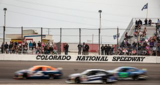 Cars in action during the NAPA Auto Parts Colorado 150 for the ARCA Menards Series West at Colorado National Speedway in Dacono, Colorado, on July 31, 2021. (Chet Strange/ARCA Racing)