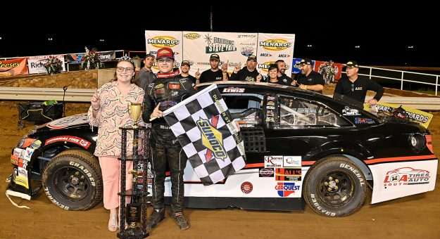 Landen Lewis, driver of the #2 19th Green Toyota, celebrates in victory lane after winning the Southern Illinois 100 presented by Lucas Oil for the ARCA Menards Series at the DuQuoin State Fairgrounds in DuQuoin, Illinois on September 5, 2021. (Jeff Curry/ARCA Racing)