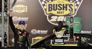 BRISTOL, TENNESSEE - SEPTEMBER 16: Ty Gibbs, driver of the #18 Joe Gibbs Racing Toyota, celebrates in victory lane after winning the ARCA Menards Series Bush's Beans 200 at Bristol Motor Speedway on September 16, 2021 in Bristol, Tennessee. (Photo by Jared C. Tilton/Getty Images) | Getty Images