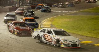 PJ Pedroncelli, driver of the #33 Select Mobile Bottlers Toyota, takes first place during the NAPA AutoCare 150 presented by Berco Redwood for the ARCA Menards Series West at All American Speedway in Roseville, California on October 9, 2021. (Nina Riggio/ARCA Racing)