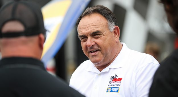 Bill McAnally talks with crew members during the NAPA Auto Parts 150 for the ARCA Menards Series West at Irwindale Speedway in Irwindale, California on August 21, 2021. (Meg Oliphant/ARCA Racing)